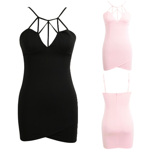 New Sexy Women Mini Dress Cross Spaghetti Strap Sweetheart Nightclub Party Bodycon Dress Black/PinkApparel &amp; Jewelry<br>New Sexy Women Mini Dress Cross Spaghetti Strap Sweetheart Nightclub Party Bodycon Dress Black/Pink<br>