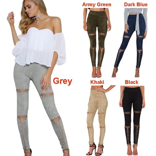 New Sexy Women Faux Suede Leggings Lace-Up Bandage High Waist Skinny Pants Tights Slim Bodycon Pencil TrousersApparel &amp; Jewelry<br>New Sexy Women Faux Suede Leggings Lace-Up Bandage High Waist Skinny Pants Tights Slim Bodycon Pencil Trousers<br>