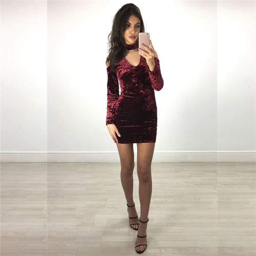 New Sexy Women Velvet Bodycon Dress Cold Shoulder Choker V Neck Long Sleeve Slim Sheath Party Mini Dress Beige/BurgundyApparel &amp; Jewelry<br>New Sexy Women Velvet Bodycon Dress Cold Shoulder Choker V Neck Long Sleeve Slim Sheath Party Mini Dress Beige/Burgundy<br>
