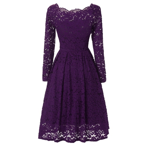 New Sexy Women Floral Lace Dress Off Shoulder Long Sleeve Boat Neck Cocktail Party Formal Swing DressApparel &amp; Jewelry<br>New Sexy Women Floral Lace Dress Off Shoulder Long Sleeve Boat Neck Cocktail Party Formal Swing Dress<br>
