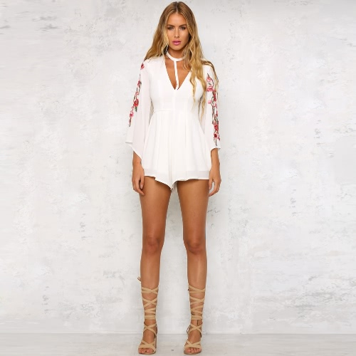 New Sexy Women Jumpsuit Floral Embroidery Short Rompers Choker V-Neck Ruffle Elegant Playsuit Black/WhiteApparel &amp; Jewelry<br>New Sexy Women Jumpsuit Floral Embroidery Short Rompers Choker V-Neck Ruffle Elegant Playsuit Black/White<br>