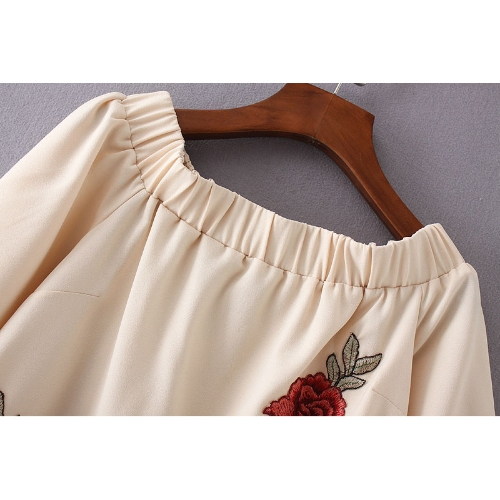 New Summer Off Shoulder T-Shirt Floral Embroidery Flare Sleeve Irregular Hem Casual Loose Top BeigeApparel &amp; Jewelry<br>New Summer Off Shoulder T-Shirt Floral Embroidery Flare Sleeve Irregular Hem Casual Loose Top Beige<br>