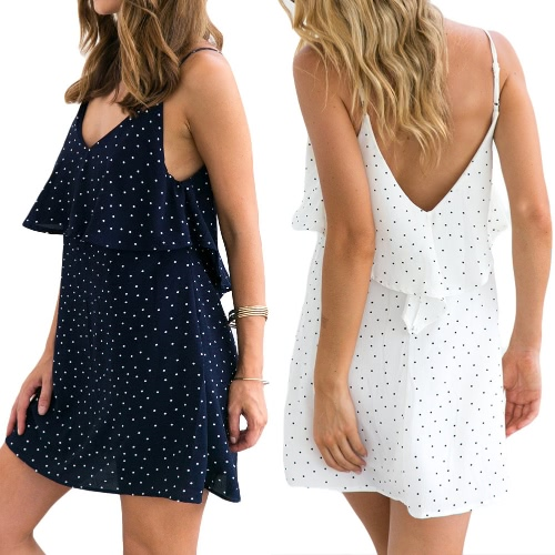 New Fashion Women Polka Dots Mini Dress Spaghetti Strap V Neck Backless Ruffles Beach Summer Dress White/Dark BlueApparel &amp; Jewelry<br>New Fashion Women Polka Dots Mini Dress Spaghetti Strap V Neck Backless Ruffles Beach Summer Dress White/Dark Blue<br>