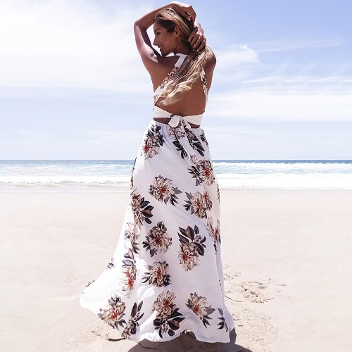 Women Chiffon Dress Floral Print Halter Sleeveless Split Backless Hollow Out Beach Maxi Gown Elegant Party One-PieceApparel &amp; Jewelry<br>Women Chiffon Dress Floral Print Halter Sleeveless Split Backless Hollow Out Beach Maxi Gown Elegant Party One-Piece<br>