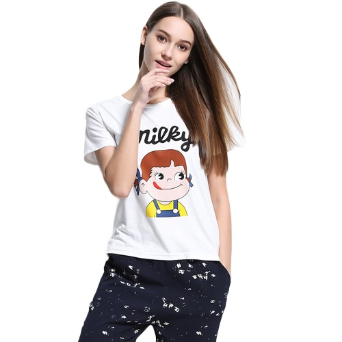New Fashion Women T-shirt Top Letter Cartoon Print O-Neck Short Sleeves Pullover Casual Blouse WhiteApparel &amp; Jewelry<br>New Fashion Women T-shirt Top Letter Cartoon Print O-Neck Short Sleeves Pullover Casual Blouse White<br>