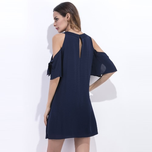 Sexy Women Chiffon Mini Dress Solid Off shoulder O-Neck Half Sleeves Elegant Dress Dark BlueApparel &amp; Jewelry<br>Sexy Women Chiffon Mini Dress Solid Off shoulder O-Neck Half Sleeves Elegant Dress Dark Blue<br>