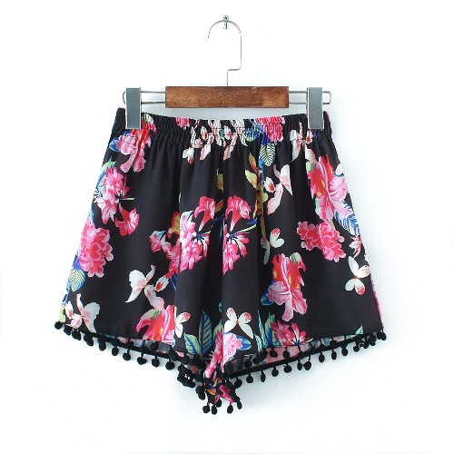 Sexy Fashion Woman Shorts Floral Print Tassel Elastic Waist Elegant Casual Vintage Trousers BlackApparel &amp; Jewelry<br>Sexy Fashion Woman Shorts Floral Print Tassel Elastic Waist Elegant Casual Vintage Trousers Black<br>