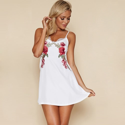 New Sexy Women Mini Dress Floral Embroidery Lace V-Neck Strap Backless Party Nightclub A-Line Dress Black/WhiteApparel &amp; Jewelry<br>New Sexy Women Mini Dress Floral Embroidery Lace V-Neck Strap Backless Party Nightclub A-Line Dress Black/White<br>