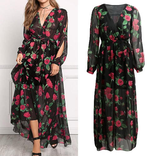 Sexy Women Maxi Dress Sheer Chiffon Floral Cross V-Neck Cut Out Sleeve Elastic Waist Boho Long Dress BlackApparel &amp; Jewelry<br>Sexy Women Maxi Dress Sheer Chiffon Floral Cross V-Neck Cut Out Sleeve Elastic Waist Boho Long Dress Black<br>