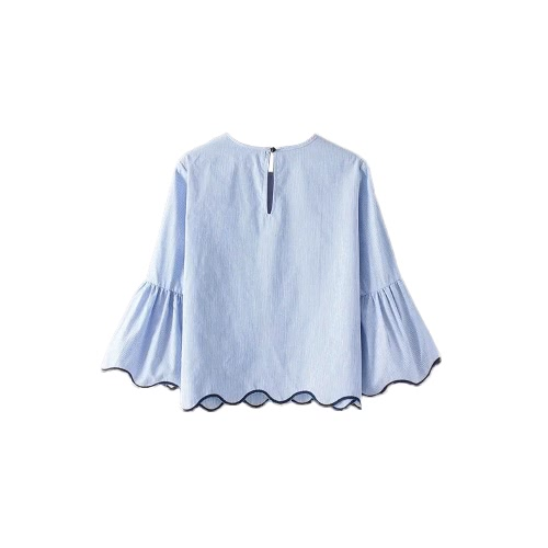 Women Striped Blouse Top Embroidery Scalloped Trim Flare Sleeves Button Back Loose Casual Top Shirt BlueApparel &amp; Jewelry<br>Women Striped Blouse Top Embroidery Scalloped Trim Flare Sleeves Button Back Loose Casual Top Shirt Blue<br>