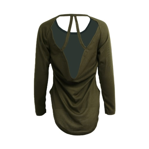 Korean Fashion Women Slouchy T-shirt Knitted Backless Irregular Hem Pullover Tops Purple/Amy GreenApparel &amp; Jewelry<br>Korean Fashion Women Slouchy T-shirt Knitted Backless Irregular Hem Pullover Tops Purple/Amy Green<br>