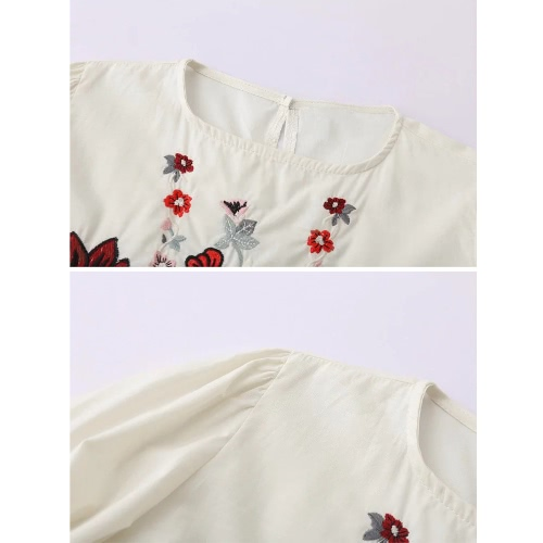 New Fashion Women Blouse Floral Embroidery Ruffles Hem O-Neck Long Sleeves Pullover Vintage Elegant Top Black/WhiteApparel &amp; Jewelry<br>New Fashion Women Blouse Floral Embroidery Ruffles Hem O-Neck Long Sleeves Pullover Vintage Elegant Top Black/White<br>