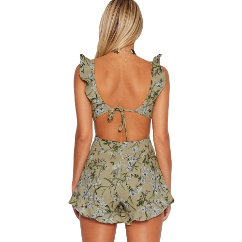 New Sexy Women Jumpsuit Short Rompers Floral Print Cut Out V-Neck Ruffle Backless Sleeveless Casual PlaysuitApparel &amp; Jewelry<br>New Sexy Women Jumpsuit Short Rompers Floral Print Cut Out V-Neck Ruffle Backless Sleeveless Casual Playsuit<br>