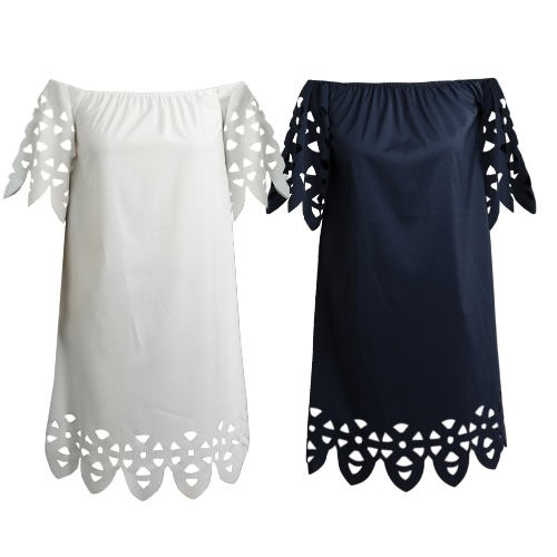 Women Casual Boho Dress Off the Shoulder Summer Style Loose Hollow Out Shift Dress White/Dark BlueApparel &amp; Jewelry<br>Women Casual Boho Dress Off the Shoulder Summer Style Loose Hollow Out Shift Dress White/Dark Blue<br>