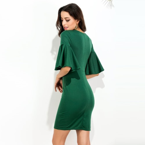 Women Flare Sleeve Dress V Neck Half Sleeve High Waist Mini Sheath Pencil Dress GreenApparel &amp; Jewelry<br>Women Flare Sleeve Dress V Neck Half Sleeve High Waist Mini Sheath Pencil Dress Green<br>