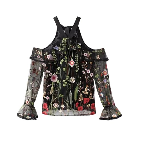Sexy Women Sheer Top Floral Embroidery Off Shoulder Tie Halter Flare Sleeve Transparent Blouse Top BlackApparel &amp; Jewelry<br>Sexy Women Sheer Top Floral Embroidery Off Shoulder Tie Halter Flare Sleeve Transparent Blouse Top Black<br>