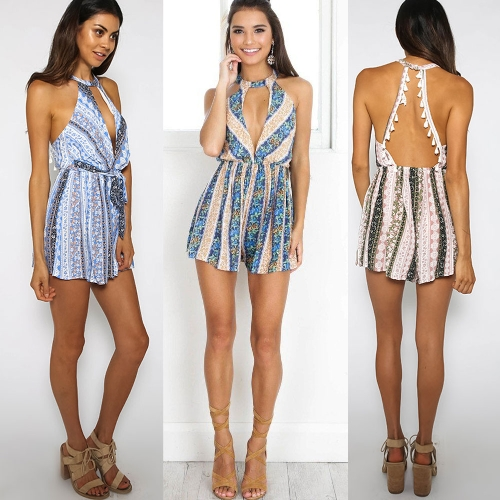 Summer Women Jumpsuit Plunge Front Boho Print Tassel Playsuit Rompers Sleeveless Short Overalls Green/Blue/Khaki