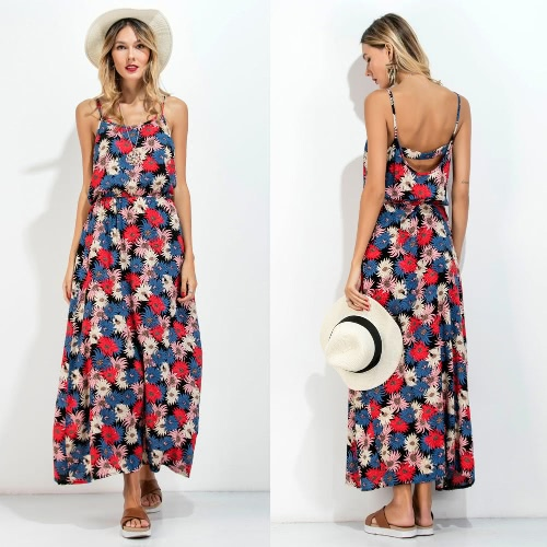 New Women Long Slip Dress Floral Print Spaghetti Strap Backless Sleeveless Casual Beachwear Maxi Sundress RedApparel &amp; Jewelry<br>New Women Long Slip Dress Floral Print Spaghetti Strap Backless Sleeveless Casual Beachwear Maxi Sundress Red<br>
