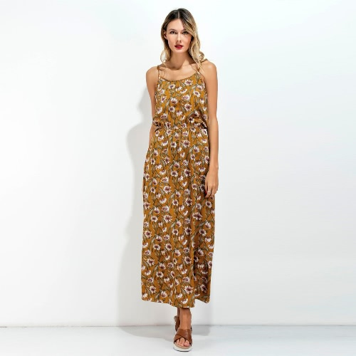 New Women Long Slip Dress Floral Print Spaghetti Strap Backless Sleeveless Casual Beachwear Maxi Sundress YellowApparel &amp; Jewelry<br>New Women Long Slip Dress Floral Print Spaghetti Strap Backless Sleeveless Casual Beachwear Maxi Sundress Yellow<br>