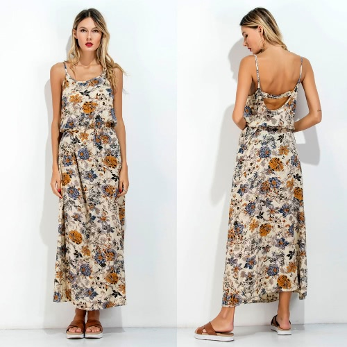 New Women Long Slip Dress Floral Print Spaghetti Strap Backless Sleeveless Casual Beachwear Maxi Sundress BlueApparel &amp; Jewelry<br>New Women Long Slip Dress Floral Print Spaghetti Strap Backless Sleeveless Casual Beachwear Maxi Sundress Blue<br>