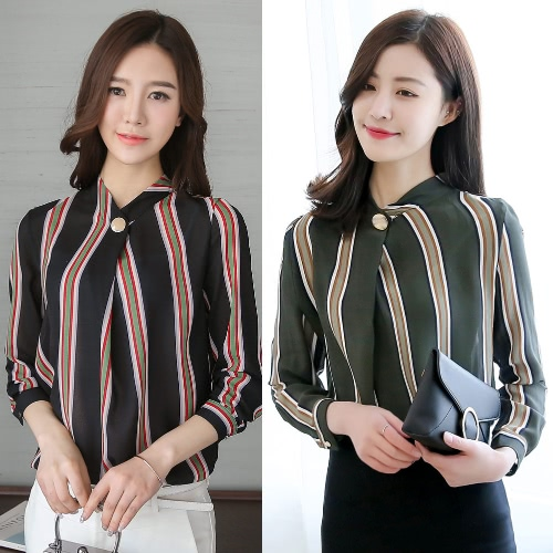 Elegant Women Blouse Plus Size Stripe Print Button Stand Collar Long Sleeve Loose Office Lady WorkwearApparel &amp; Jewelry<br>Elegant Women Blouse Plus Size Stripe Print Button Stand Collar Long Sleeve Loose Office Lady Workwear<br>