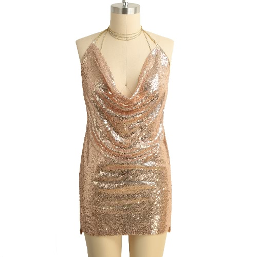 New Sexy Women Sequined Mini Dress Plunge V Neck Halter Choker Backless Sleeveless Bodycon Dress Party ClubwearApparel &amp; Jewelry<br>New Sexy Women Sequined Mini Dress Plunge V Neck Halter Choker Backless Sleeveless Bodycon Dress Party Clubwear<br>