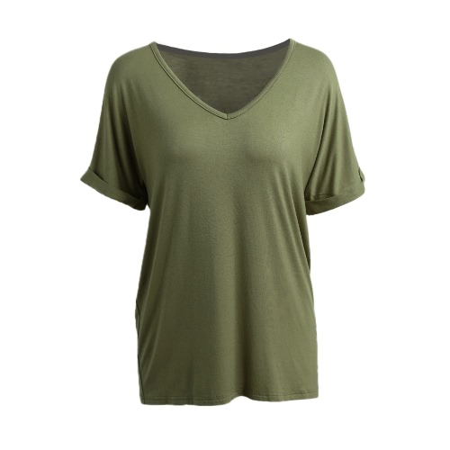 Korean Fashion Women Summer Basic T-shirt V Neck Short Sleeve Solid Color Casual Loose Plus Size Top TeeApparel &amp; Jewelry<br>Korean Fashion Women Summer Basic T-shirt V Neck Short Sleeve Solid Color Casual Loose Plus Size Top Tee<br>