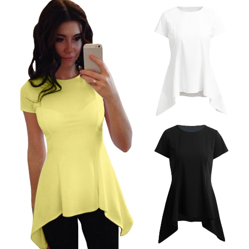 New Sexy Women T-Shirt Blouse Irregular Peplum Hem O-Neck Short Sleeve Solid Slim Causal Top Black/White/YellowApparel &amp; Jewelry<br>New Sexy Women T-Shirt Blouse Irregular Peplum Hem O-Neck Short Sleeve Solid Slim Causal Top Black/White/Yellow<br>