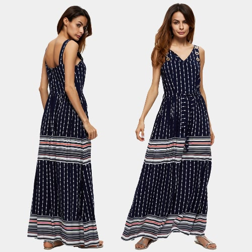 Vintage Women Beach Dress Stripe Geometric Print V Neck Sleeveless Elastic Waist Maxi Long Gown Boho Dark BlueApparel &amp; Jewelry<br>Vintage Women Beach Dress Stripe Geometric Print V Neck Sleeveless Elastic Waist Maxi Long Gown Boho Dark Blue<br>