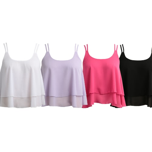 Women Sleeveless Chiffon Top Plunge Neck Dual Spaghetti Strap Double Layer Draped Casual TopApparel &amp; Jewelry<br>Women Sleeveless Chiffon Top Plunge Neck Dual Spaghetti Strap Double Layer Draped Casual Top<br>