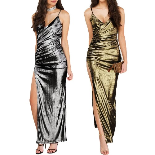 Sexy Women Bandage Maxi Dress V Neck Adjustable Strap Thigh High Split Clubwear Party Dress Silver/GoldApparel &amp; Jewelry<br>Sexy Women Bandage Maxi Dress V Neck Adjustable Strap Thigh High Split Clubwear Party Dress Silver/Gold<br>