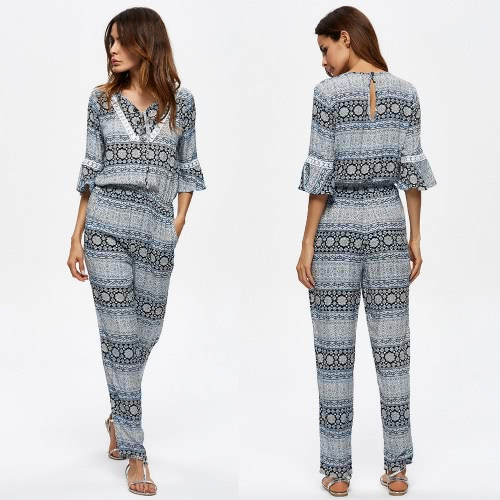 Women Vintage Jumpsuit Bohemian Print V Neck Flare Sleeve Casual Playsuit Rompers Bodysuit BlueApparel &amp; Jewelry<br>Women Vintage Jumpsuit Bohemian Print V Neck Flare Sleeve Casual Playsuit Rompers Bodysuit Blue<br>