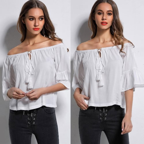 Sexy Off Shoulder Tunic Blouse Women Tassel Shirt Summer Boho Casual Top WhiteApparel &amp; Jewelry<br>Sexy Off Shoulder Tunic Blouse Women Tassel Shirt Summer Boho Casual Top White<br>