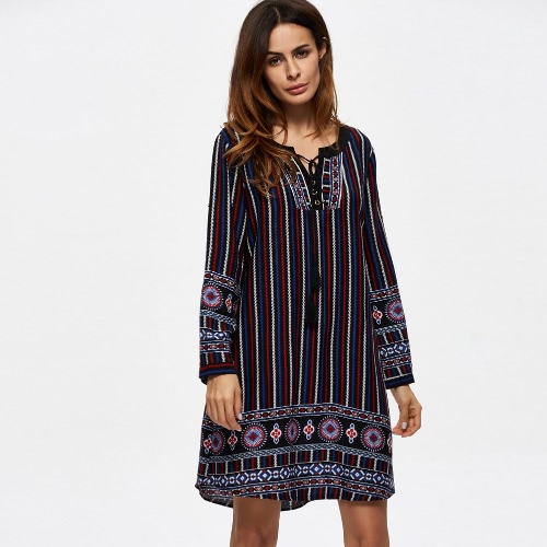 New Fashion Women Dress Positioning Print Stripe Round Neck Long Sleeve Casual Dress BlueApparel &amp; Jewelry<br>New Fashion Women Dress Positioning Print Stripe Round Neck Long Sleeve Casual Dress Blue<br>