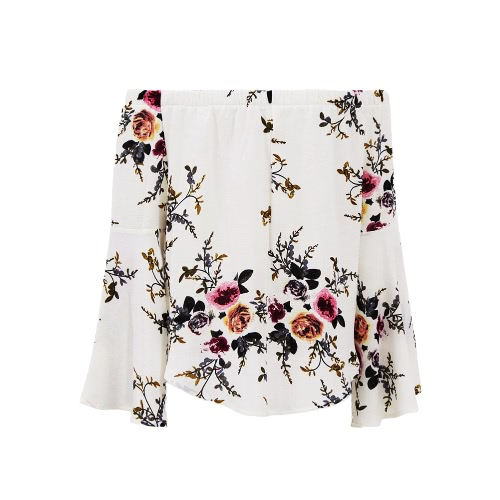 Women Off the Shoulder Top Floral Print Elastic Slash Neck Long Flare Sleeve Asymmetrical Blouse Casual TopApparel &amp; Jewelry<br>Women Off the Shoulder Top Floral Print Elastic Slash Neck Long Flare Sleeve Asymmetrical Blouse Casual Top<br>
