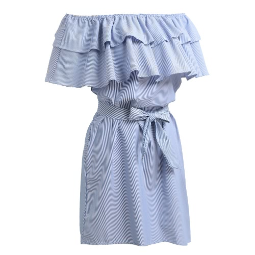Women Dress Stripe Print Off Shoulder Elastic Slash Neck Ruffle Hem Tie Casual Party Beach Wear One-PieceApparel &amp; Jewelry<br>Women Dress Stripe Print Off Shoulder Elastic Slash Neck Ruffle Hem Tie Casual Party Beach Wear One-Piece<br>