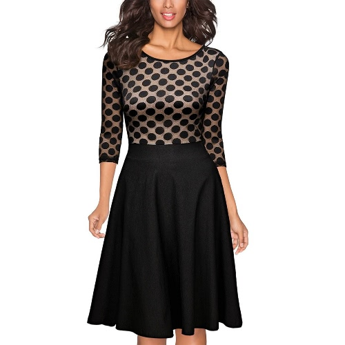 New Fashion Women Midi Dress Dot Print Lace Mesh Splice O-Neck Slim A-Line Dress BlackApparel &amp; Jewelry<br>New Fashion Women Midi Dress Dot Print Lace Mesh Splice O-Neck Slim A-Line Dress Black<br>