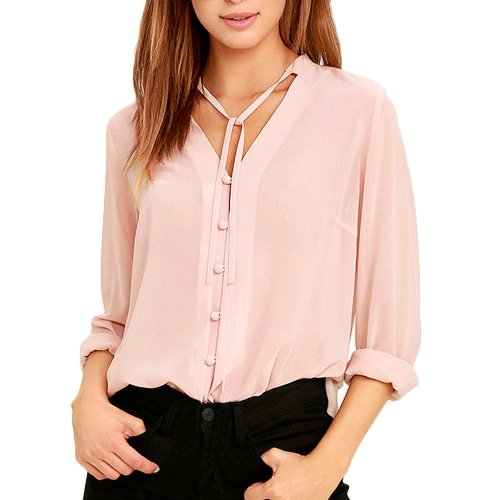 Sexy Women Sheer Chiffon Blouse Thin Solid Single Breasted V-Neck Long Sleeves Casual Elegant Top Shirt PinkApparel &amp; Jewelry<br>Sexy Women Sheer Chiffon Blouse Thin Solid Single Breasted V-Neck Long Sleeves Casual Elegant Top Shirt Pink<br>