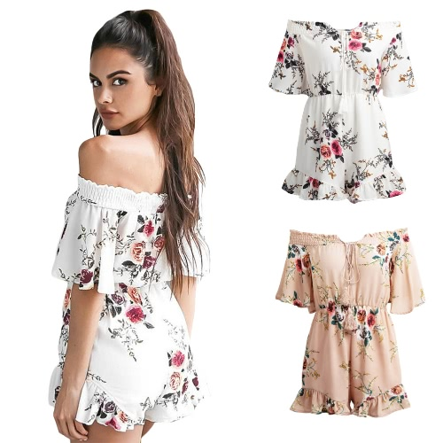 Sexy Women Off Shoulder Jumpsuit Short Rompers Boho Floral Slash Neck Tie Flare Sleeve Ruffle Casual Playsuit Khaki/WhiteApparel &amp; Jewelry<br>Sexy Women Off Shoulder Jumpsuit Short Rompers Boho Floral Slash Neck Tie Flare Sleeve Ruffle Casual Playsuit Khaki/White<br>