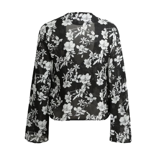 New Fashion Women Chiffon Shirt Sexy Deep V Neck Floral Print Flare Sleeve Bandage Blouse Tops BlackApparel &amp; Jewelry<br>New Fashion Women Chiffon Shirt Sexy Deep V Neck Floral Print Flare Sleeve Bandage Blouse Tops Black<br>