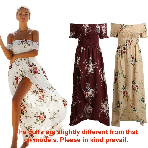 Sexy Women Boho Maxi Dress Off Shoulder Floral Print Split Summer Beach Holiday Long Dress White/Burgundy/BeigeApparel &amp; Jewelry<br>Sexy Women Boho Maxi Dress Off Shoulder Floral Print Split Summer Beach Holiday Long Dress White/Burgundy/Beige<br>