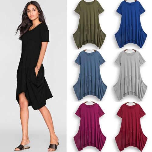 New Fashion Women Short Sleeve Dress Pockets Solid Color Round Neck Irregular Hem Casual DressApparel &amp; Jewelry<br>New Fashion Women Short Sleeve Dress Pockets Solid Color Round Neck Irregular Hem Casual Dress<br>