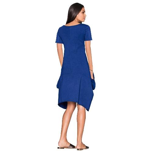 New Fashion Women Short Sleeve Dress Pockets Solid Color Round Neck Irregular Hem Casual DressApparel &amp; Jewelry<br>New Fashion Women Short Sleeve Dress Pockets Solid Color Round Neck Irregular Hem Casual Dress<br>