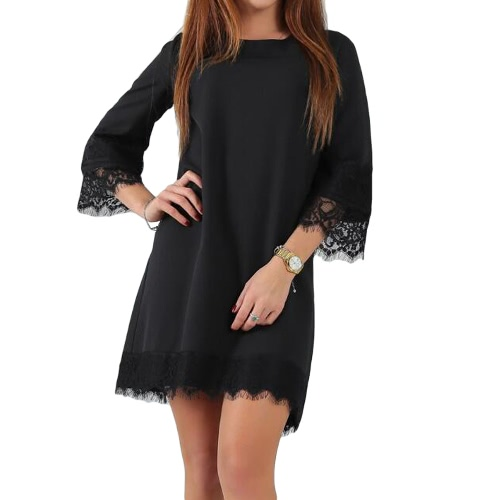 Summer Women Party Dress Casual Round Neck 3/4 Sleeve Lace Trim Mini Dress Black/Burgundy/GreenApparel &amp; Jewelry<br>Summer Women Party Dress Casual Round Neck 3/4 Sleeve Lace Trim Mini Dress Black/Burgundy/Green<br>