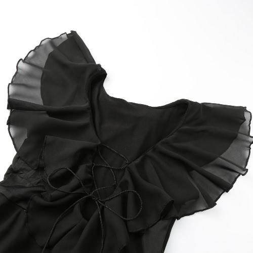 Women Asymmetrical Chiffon Dress Plunge V Neck Ruffles Hollow Out Lace Up Draped Swing Layered Dress BlackApparel &amp; Jewelry<br>Women Asymmetrical Chiffon Dress Plunge V Neck Ruffles Hollow Out Lace Up Draped Swing Layered Dress Black<br>