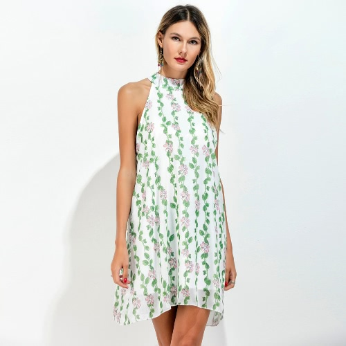 Women Chiffon Dress Choker Floral Leaves Print High Neck Sleeveless Loose Fresh A-line Mini Dress Light GreenApparel &amp; Jewelry<br>Women Chiffon Dress Choker Floral Leaves Print High Neck Sleeveless Loose Fresh A-line Mini Dress Light Green<br>