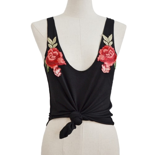 Sexy Fashion Women Vest Crop Top Floral Embroidery Scoop Neck Sleeveless Casual Blouse