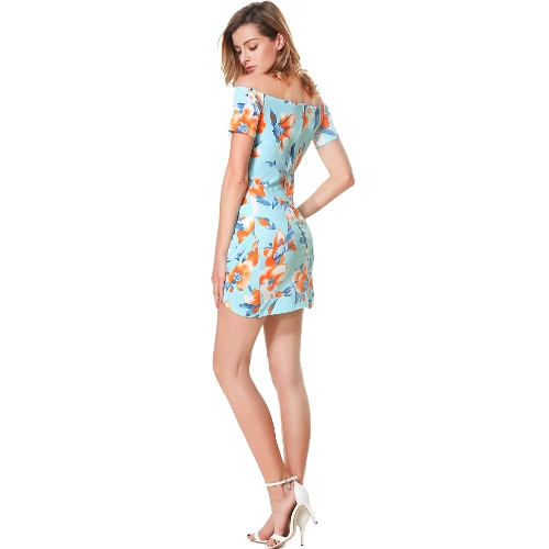 Women Floral Off the Shoulder Dress Slash Neck Ruched Short Sleeves Back Zipper Mini Dress BlueApparel &amp; Jewelry<br>Women Floral Off the Shoulder Dress Slash Neck Ruched Short Sleeves Back Zipper Mini Dress Blue<br>
