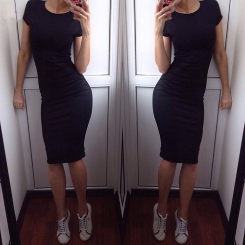 Fashion Women Pencil Dress Round Neck Short Sleeve Knee Length Bodycon Bandage Partywear Black/Dark GreenApparel &amp; Jewelry<br>Fashion Women Pencil Dress Round Neck Short Sleeve Knee Length Bodycon Bandage Partywear Black/Dark Green<br>