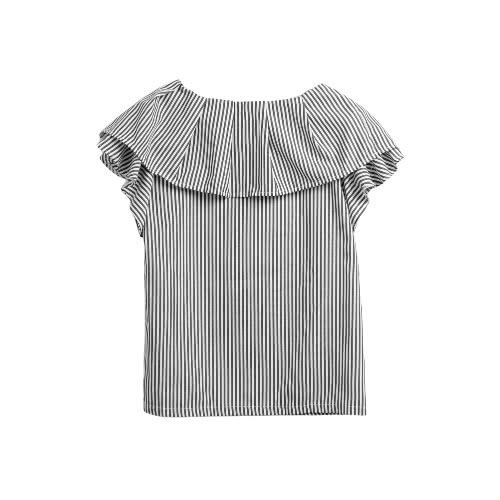 Women Ruffle Blouse Striped Shirt Short Sleeves Casual Elegant Top BlackApparel &amp; Jewelry<br>Women Ruffle Blouse Striped Shirt Short Sleeves Casual Elegant Top Black<br>